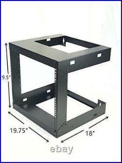 9U Wall Mount Open Frame 19'' Server Equipment Rack Threaded 15 inch depth Black
