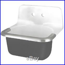 American Standard 7695008.020 Wall Mount, 2 Hole, White/Black, Utility Sink