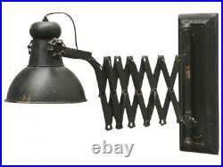 Antique Black Fold Out Arm Lamp, Round Wall Mounted Metal Light, Industrial
