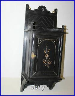 Antique Wall Mount Victorian Eastlake Wall Mount Cabinet Black Ebonized Finish
