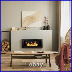 BIO ETHANOL FIREPLACE WALL MOUNTED 900x400 ECO FIRE BURNER BLACK & ACCESSORIES