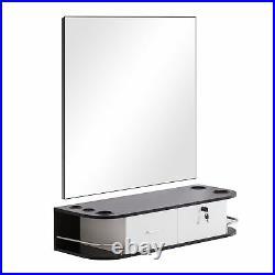 BarberPub Locking Wall Mount Styling Barber Station Salon Furniture 5012-mirror