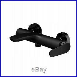 Bath Shower Mixer Tap Single Lever Brass Matt Black Wall Mounted (162)