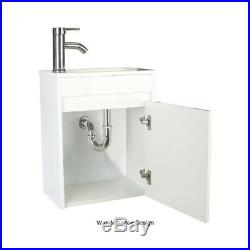 Bathroom Paint Vanity 16 Small Wall Mount Gray/White WithSink Faucet Drain Set