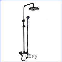 Black Bathroom Rainfall Shower Faucet Set Wall Mount Round Shower Head Mixer Tap