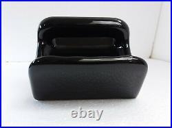 Black Ceramic Soap Dish Tray Washcloth Holder Grab Bar Mid Century Modern Retro