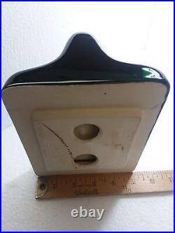 Black Ceramic Toilet Paper TP Holder Vintage Mid Century Modern Bathroom Gloss