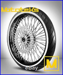 Black Fat Spoke Wheel 21x3.5 Harley Softail Model Rotor White Wall Tire Mounted