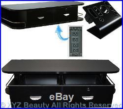 Black Locking Wall Mount Styling Station Appliance Salon Spa Beauty Equipment