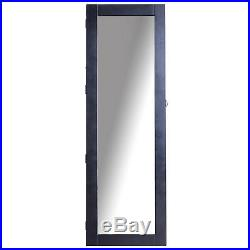 Black Mirrored Jewelry Cabinet Wall Mounted Real Glass Mirror Locked