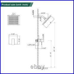 Black Shower Faucet Set Rainfall Shower Head Combo with Mixer Valve Kit Wall Mount