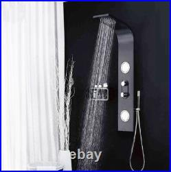 Black Shower Panel Column Tower with Body Jets and Waterfall Bathroom Shower SP2