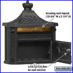 Black Victorian Mailbox Mail box Wall Mount Locking Lock Aluminum Salsbury
