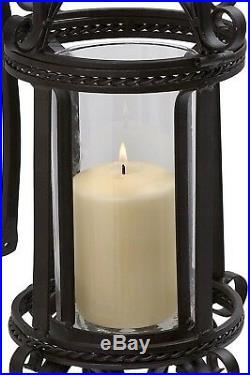 Black Wall Mount Hanging Lantern Layered Wrought Iron Scrollwork Candle Lamp 24