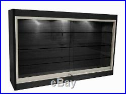 Black Wall Mounted Display Showcase with Glass Doors, Shelves, Lights, & Lock