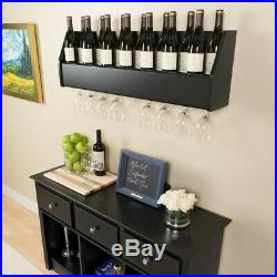 Black Wood Wall Mount Wine Rack Hanging Glass Storage 18 Bottle Holder Bar Decor