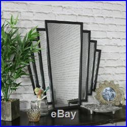 Black metal art deco fan style wall mounted mirror vintage retro chic design