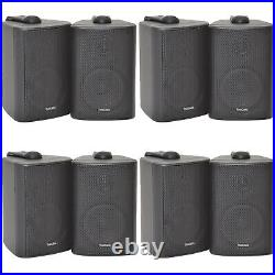 Bluetooth Wall Speaker Kit 4 Zone Stereo Amp & 8x Black Wall Background Music