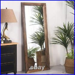 Brown 63 Full Length Floor Mirror Rustic Wood Framed Wall-Mounted Dress Makeup
