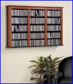 Cherry Finish Wooden Media Storage Cabinet CD DVD Organizer Wall Mount Shelf