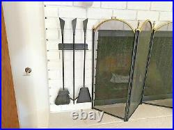 Conover Vtg Mid Century Modern Wrought Iron Wall Mount Fireplace Tools Seymour