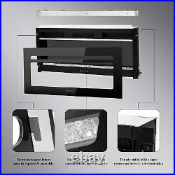 Contemporary Electric Fireplace Black 40 Wall / recess Mount Heater multi Flame