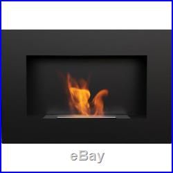 Dallas contemporary black wall mounted bioethanol fireplace modern style