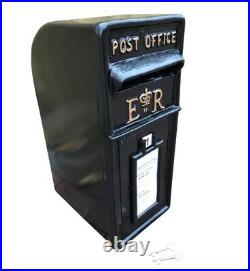 ER Post Box Postbox Letter Box and Stand Cast Iron Black Large
