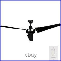 Energy Star Ceiling Fan Work Shop Industrial Garage Wallmount Remote Black 60 in