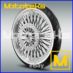 Fat Black Spoke Wheel 21x3.5 For Harley Softail Rotor White Wall Tire Mounted
