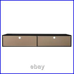 Floating 80 in TV Stand Entertainment Center LED Wall Mounted Console High Gloss