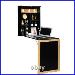 Floating Desk Fold-Out Wall Mounted Convertible Table Home Living Room Black