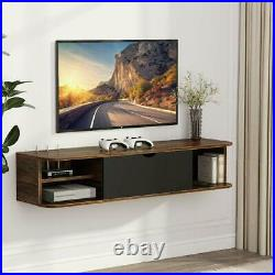 Floating TV Shelf for Game Consoles CDs Rustic Wall Mounted Media Console 43.3L
