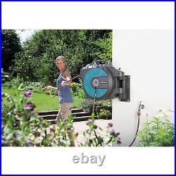 Gardena Comfort 82 Foot Wall Mounted Retractable Swivel Garden Hose Reel Box