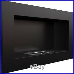 Georgia Black horizontal wall mounted bioethanol fireplace modern style firep