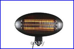 HEATSURE Patio Heater Garden Outdoor Quartz 2KW Electric Wall Mounted Heating
