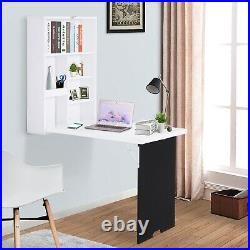 HOMCOM Folding Wall-Mounted Drop-Leaf Table withChalkboard Shelf Multi-Function