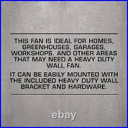 Hurricane Pro High Velocity Oscillating Metal Wall Mount Fan 20-inch