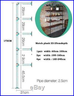 Industrial Retro Wall Mount Iron Pipe Shelf Storage Shelving Bookshelf 4pcs DIY