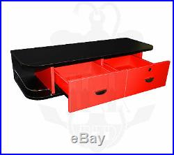 Inkbed Black Locking Wall Mount Station with Red Drawers Studio Tattoo Equipment