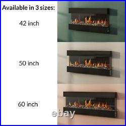 Large 60 Electric Wall Mounted Fireplace Suite Black Glass Mirrored LED Flame