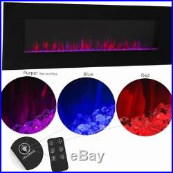 Large Black Electric Fireplace Wall Mount 50 Color Changing Flame Heater 400sq