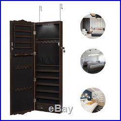 Lockable Door/Wall Mount Mirrored Jewelry Armoire Cabinet Storage Organizer New