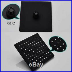 Matte Black Wall Mount Bathroom Shower Faucet with Hand Shower Set Mixer Tub Tap