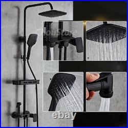 Modern Square Matte Black Rain Shower Faucet Mixer Valve Tap Set with Side Spray