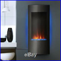 Napoleon 38 Inch Vertical Black Wall Mount Hanging Electric Fireplace with Remote