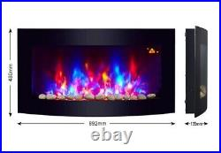 New 2020 Led Flames 7 Colour Side Lit Truflame Curved Wall Mounted Electric Fire