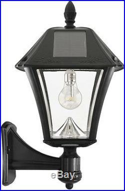 Outdoor Black Solar Post Wall Mount Light LED Bulb Pole Top Lantern Garden Lamp