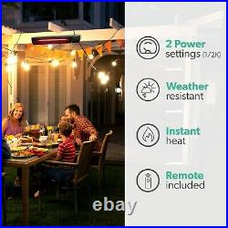 Outdoor Electric TILTING Wall Mounted Patio Heater with Free Remote Contro 48593