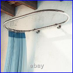 Oval Bathroom Wall Mounted Shower Curtain Rail 1150 x 640 MM